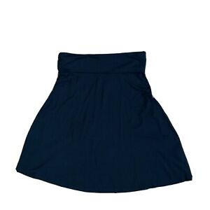 Old Navy A-Line Skirt Fold Over Waistband Black Jersey Knit Womens Small