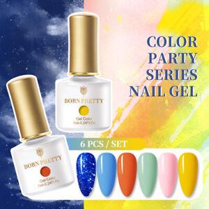 BORN PRETTY 6 Pcs 7ml Nail Gel Colorful Soak Off Manicurie Color Party Series