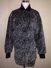 Escada Velvet Black Gray Zebra Pattern Jacket Women Size M / L Euro SZ 38
