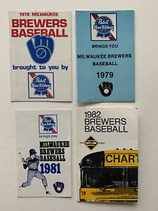 (4) Different 1978-1982 Milwaukee Brewer Run of Baseball Schedules. Ex Condition