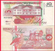 Suriname P137b, 10 Gulden, banana stalk, bank / Toucan, hibiscus flower UNC 1998