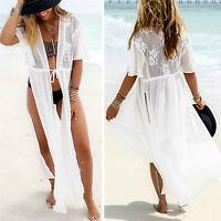 Women Maxi Lace Bikini Cover-up Summer Cardigan Swimwear Beach Sheer Long Dress