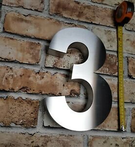 """Extra large 12""""/30cm 3D Arial house numbers 40mm depth brushed stainless steel"""