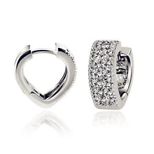 925 Sterling Silver Paved CZ Love Heart Eternity Huggie Hoop Jewellery Earrings