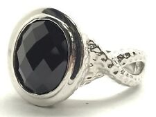 Sterling Silver Solitaire Faceted Black Onyx Hammered Crossover Cocktail Ring 7