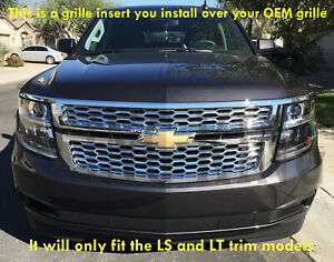2015-2020 Chevy Tahoe Suburban chrome mesh grille insert grill overlay LS LT