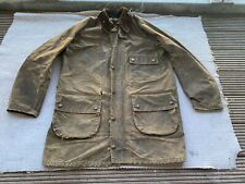 vintage BARBOUR wax cotton solway zipper jacket green brown 38 S-M for repairs