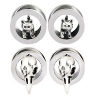 2× Ear Gauges Expander Stainless Steel Cat Bird Head Earrings Ear Plugs Piercing