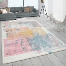 Teppich Wohnzimmer Kurzflor Karo Vintage Muster Pastell Bunt Gelb Beige Rosa
