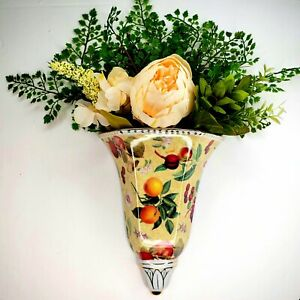Beautiful Botanical Fruit Chintz Wall Pocket Vase Floral Ceramic Decoration Cmas