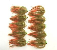 10 New Jigs w/ Spider-cut Silicone Skirts 1/4oz Jigheads Hooks Fishing Lure Gold