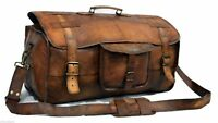 "20"" Men's Real Leather Vintage Large Duffle Travel Gym Luggage Carry on Bag New"
