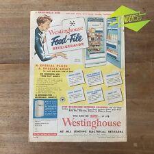 VINTAGE 1956 WESTINGHOUSE FOOD-FILE REFRIGERATOR ORIGINAL PRINT ADVERTISEMENT