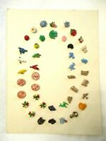 42 Vintage PLASTIC Kids / NOVELTY Circus Flowers Animals Dogs + CLOTHING BUTTONS