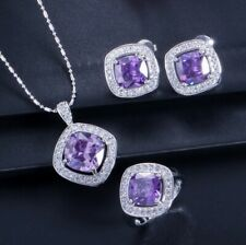 Square Jewelry Sets Amethyst Emerald Citrine Silver Necklaces Earrings Rings
