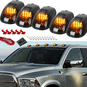 5 Smoked 12 LED Black For Dodge Ram Cab Roof Top Marker Running Clearance Light