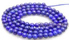 """SALE Small 6mm Round Blue natural lapis lazuli loose beads strand 15""""-lo628"""