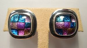 Beautiful - Dichroic Glass - Checkered Design - Sterling Silver - Stud Earrings