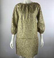 VERA WANG Gold Brocade Linen Silk Drop Waist Bishop Puff Sleeve Dress Women's 4
