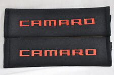 Embroidery Chevrolet Camaro Red Logo Black Plush Soft Seat Belt Cover Pad Pair