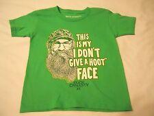 Boys Tee Shirt Sz XS 4/5 Duck Dynasty Irish Green I Don't Give a Hoot Face