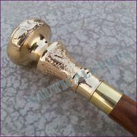 Victorian Vintage Cane Walking Stick Brass Designer Embossed Handle Wooden Canes