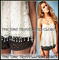 Kate Moss Topshop Ivory Cream Vintage Lace Crochet Swing Cami Vest Top UK 8 10
