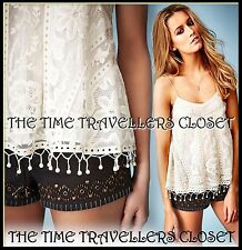 Kate Moss Topshop Ivory Cream Vintage Lace Crochet Swing Cami Vest Top UK 6 8