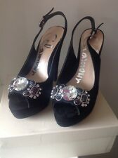 AS NEW BLACK SUEDE JEWELED PEEP TOE HEELS SIZE 7.5 GLAMOUR