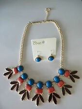 """The One Blue/Coral/Brown Bib NECKLACE & EARRING SET  Adj 18"""" - 21"""" (2420)"""