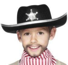 Childrens Boys Cowboy Sheriff Hat Fancy Dress Black New by Smiffys