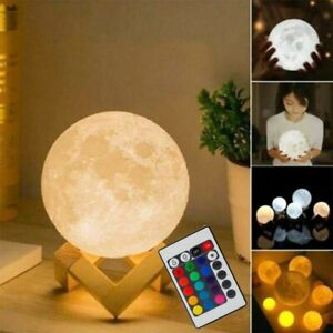 15 CM 3D LED Night Light Moon Lamp Moonlight Remote Control Ball 16 Colors