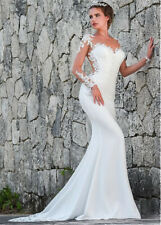 Mermaid White/Ivory Long Sleeve Wedding Dress Lace Satin Sheer/Mesh Bridal Gown