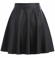 Womens Ladies Faux Leather Skirt Short Flared Skater Party A-Line Mini Skirt SXL