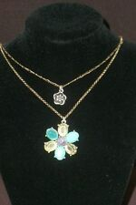 Lucky Brand 2 Strand Chain turquoise/yellow/purple Stone Flower Pendant Necklace