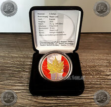 CANADA $ 5 DOLLARS 2010 (MAPLE LEAF) GILDED HOLOGRAPHIC SILVER Coin * UNC