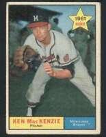 1961 Topps #496 Ken MacKenzie VG/VGEX Braves 48333