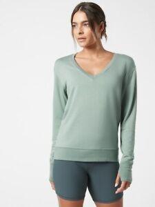 ATHLETA Sunrise V-Neck Sweatshirt  XL X-Large  Minimalistic Grey Top #982372 NEW