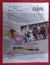 NHL MONTREAL CANADIENS ORIGINAL 1995 CHICAGO BLACK HAWKS LAST GAME FORUM LINE-UP