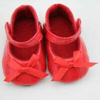 Handmade Red Flats Shoes w/Bow For 18 inch General Clothes NICE Doll Girl P F5L8