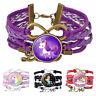 Cute Gem Time Bracelet Woven Cartoon Unicorn Friendship Kids Bangle Jewelry Gift