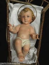 Catholic Spanish Christmas Nativity wooden Crib Infant baby Jesus glass eyes