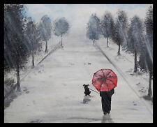 FRAMED Walking With My Friend by Ed Capeau 16x12 Art Print Poster Umbrella Rain