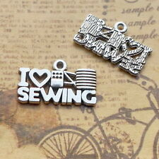 10pcs Word I LOVE SEWING Charms Bead Fit DIY Jewelry Pendant Finding12.5*20.7mm