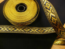Woven ribbon, Dark blue, Gold, geometrical Pattern, medieval, Embroidered