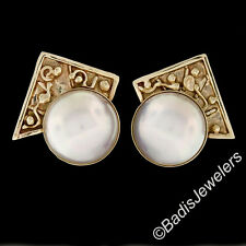 Solid 14K Yellow Gold Large Bezel Mabe Pearl Detailed Triangle Top Omega Earring