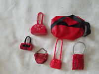 LOT OF BARBIE DOLL PURSES/BAGS  (RED)
