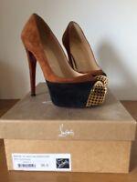 Christian Louboutin Maggie 140 Tan/Black Heels EU Size 35.5 (UK 2.5 - Fits UK 3)