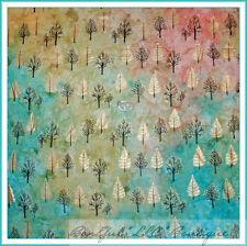 BonEful Fabric FQ Batik Cotton Quilt VTG Xmas Tree Jewel Green Gold Metalic Foil