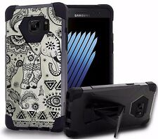 Galaxy NOTE 7 Rugged Dual Shock Armor Hybrid Kickstand Case TRIBAL ELEPHANT